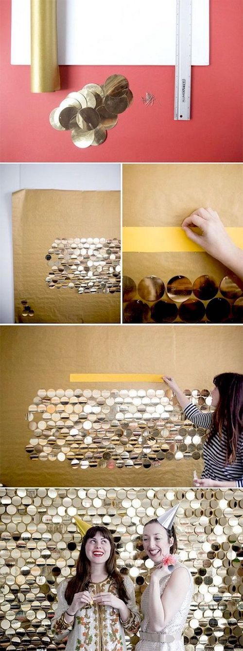 Glam photo booth ideas. Glittery gold backdrop made out of large pailettes. Make sure they are perfectly aligned just as it's shown on the image.