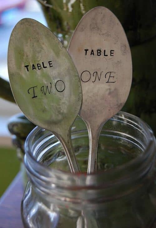 Hammered spoon table numbers.