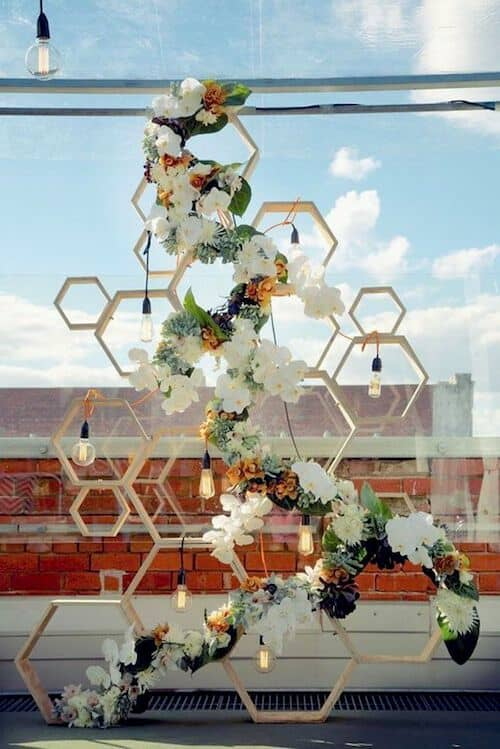 How does this original honeycomb backdrop sound for a modern industrial wedding?