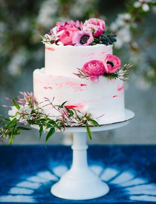 Bright pink cake for an intimate wedding ceremony. Photo: Samantha Dapper and Mary Costa Photography.