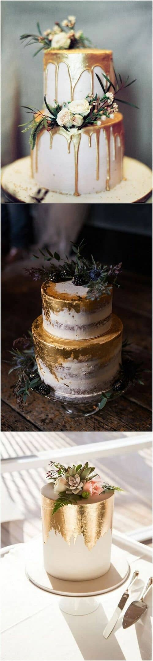 Metallic wedding cakes, the sensation of 2018 weddings, can be a great fit for your woodland wedding no matter what season.