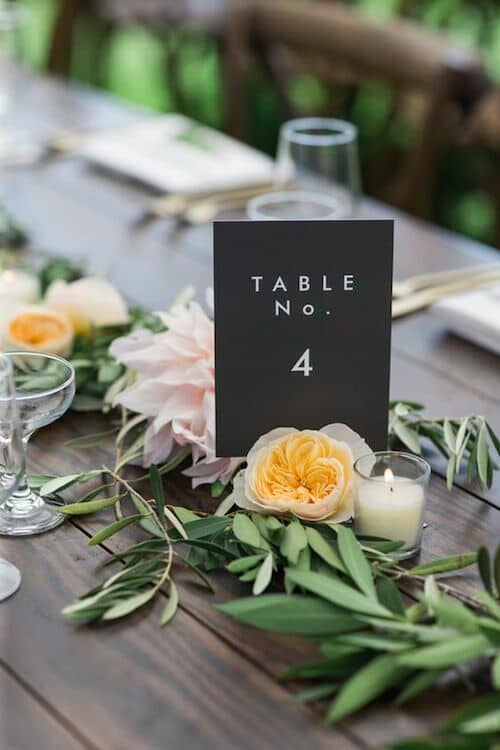 Modern table number at a New Hampshire wedding. Photo: Rodeo & Co Photography.