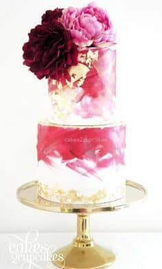 Modern two tier in spring crocus and gold foil wedding cake by Cakes 2 Cupcakes.