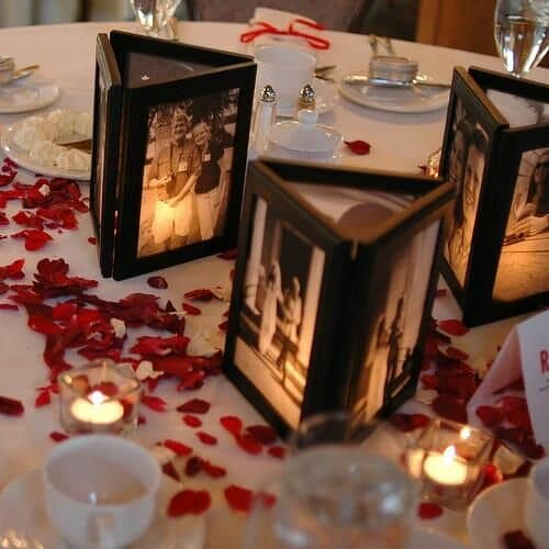 Romantic and nostalgic wedding table number ideas. This could be a table number and a centerpiece.