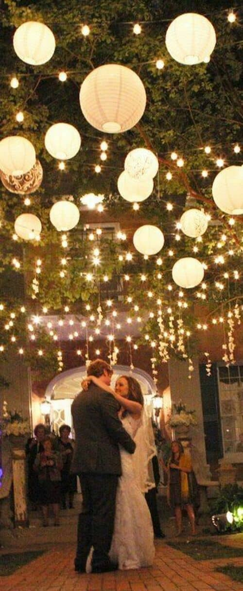 Cozy outdoor wedding lighting for a summer night.