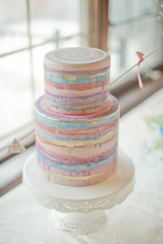 Sweet, chic and adorable pastel wedding cake. Sprucewood Shores.