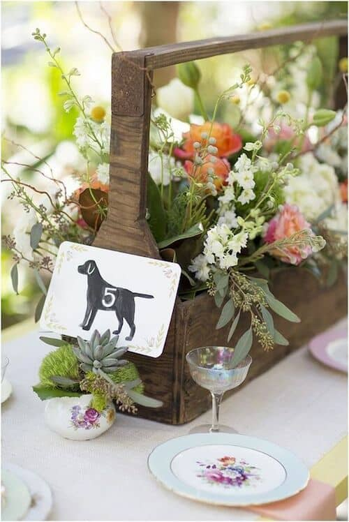 Pet wedding table number ideas to include your furkid in your reception decor.