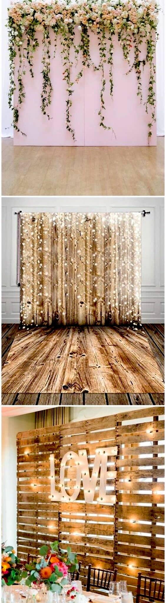 The photo booth backdrop can be made of drapes, shiny strips or wooden palettes.
