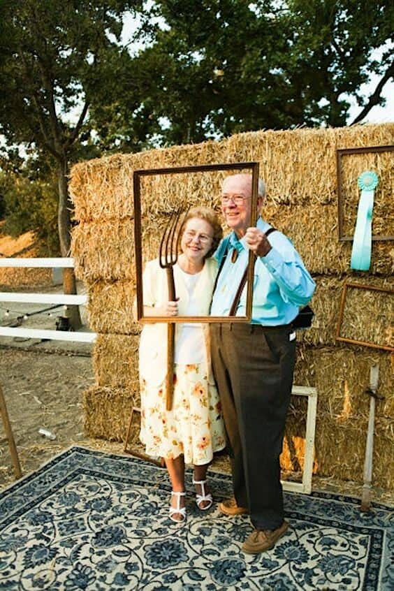 Rustic weddings can also have a super funny photo booth.