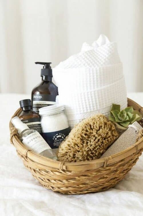 Spa in a basket for your better half. Easy to do and very inexpensive!