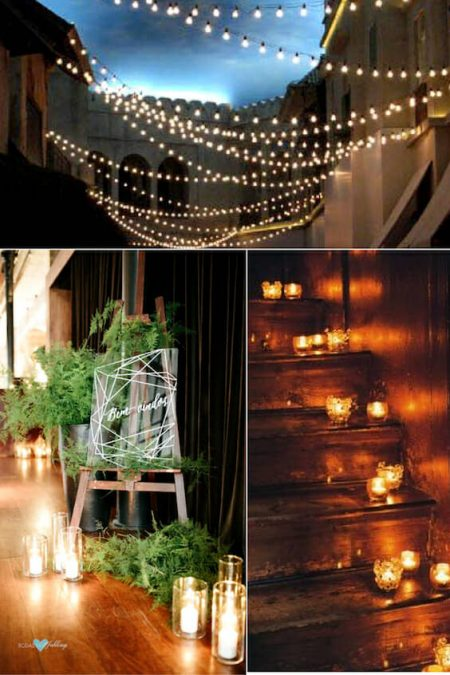Steal-worthy wedding reception lighting ideas. This is a lighting trick I adore, stair votives. Pick scented candles for added effect.