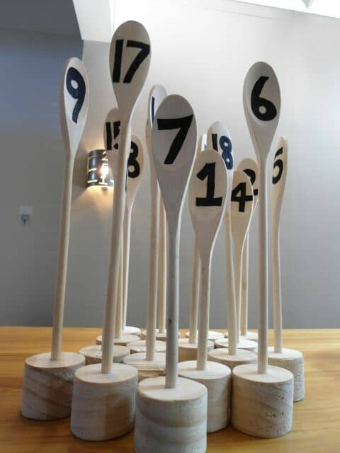 Clever table number markers.