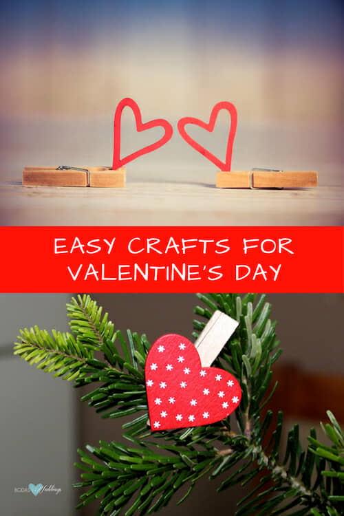 Valentine's day crafts with hearts and clothespins.