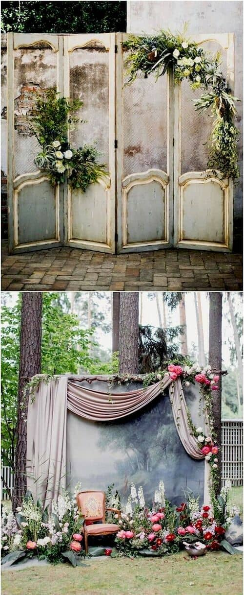 Vintage door inspired wedding photo booth ideas with flower and greenery decorations.