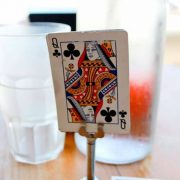 Wedding table number alternative ideas you can DIY in minutes. Table number holders and a deck of cards will do the trick.
