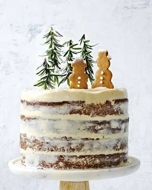Winter cakes like this hazelnut and brandy forest wedding cake.