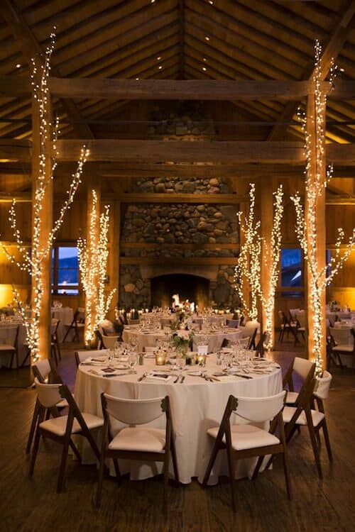 Winter wedding reception lighting ideas.