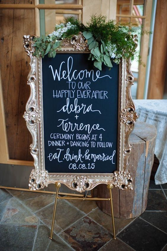 Elegant vintage chalkboard wedding signage at an Alaskan wedding. Erica Rose Photography.