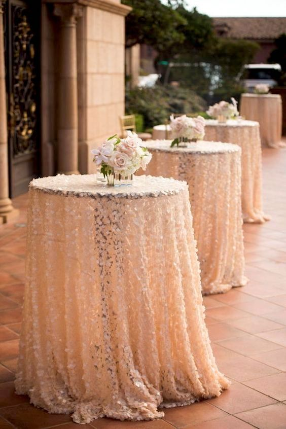 Peach sequin cocktail hour tables. How many guests will attend this function? Boyd Harris Photography.