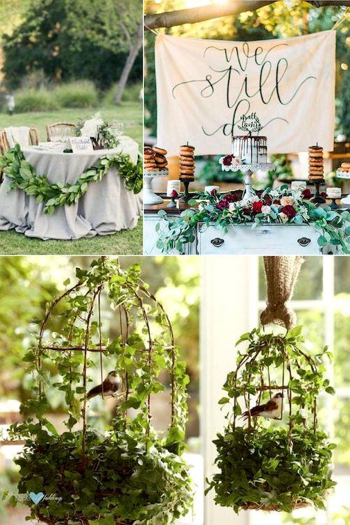 Ideas para la decoración de una boda temática Blancanieves. Mesa de los novios con ramas de árboles. Mesa de dulces para una boda en el bosque. Jaulas con hiedra y pájaros del bosque colgadas con arpillera.