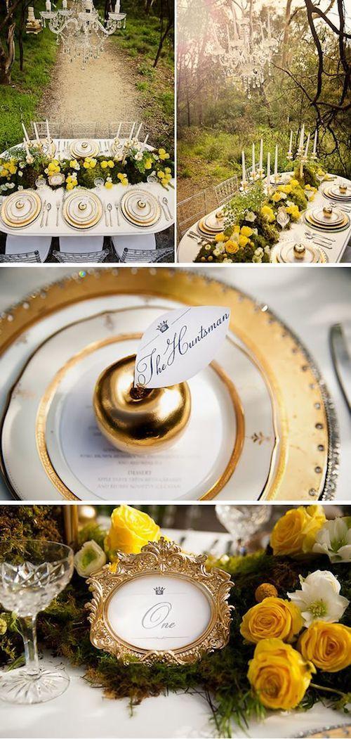 Decoración de una boda temática Blancanieves en amarillo, verde y dorado.