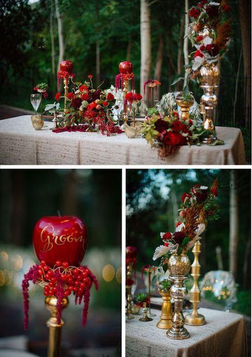 Espejos mágicos, manzanas rojas, jugosas y relucientes, jaulas con musgo y mariposas. Decoraciones de mesas únicas en un entorno de bosque encantado. Tendencia del 2018.