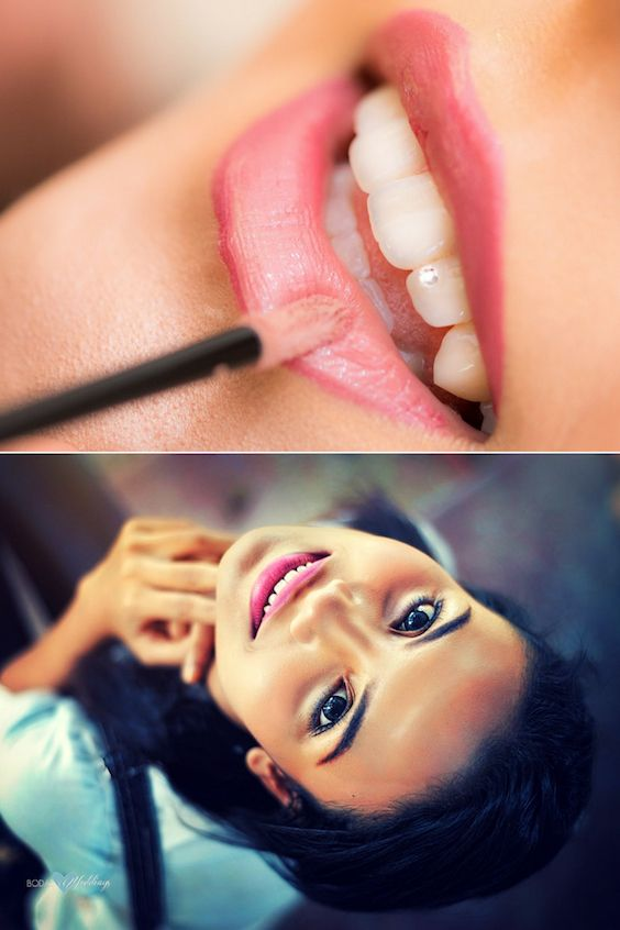 Makeup tricks for full lips or wide mouths.