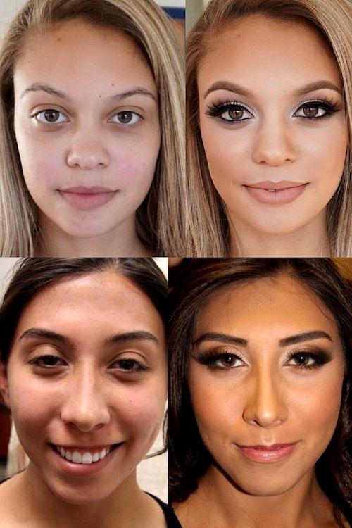 Foto de antes y después del maquillaje con aerógrafo o airbrushing. ¿No es sensacional? En este artículo te enseñamos a hacerlo en casa.