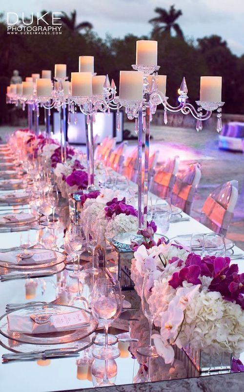Love this purple table decor with mirrors. Super fancy! Photo: Duke Photography.