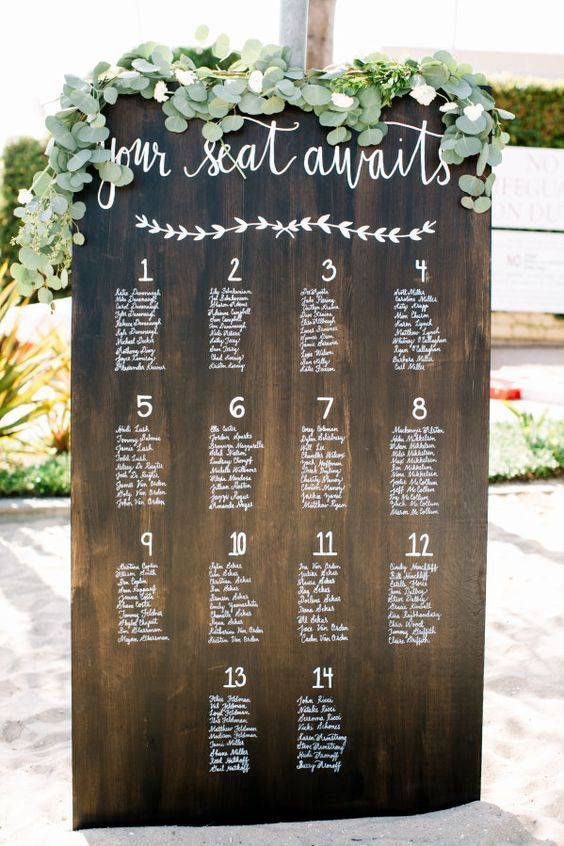 Modern rustic seating chart for a nautical wedding. Photo: Rachel Jane.