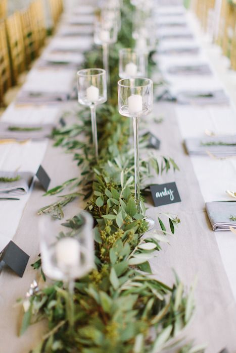 Beautiful and simple table decor. Love the chalkboard place settings.