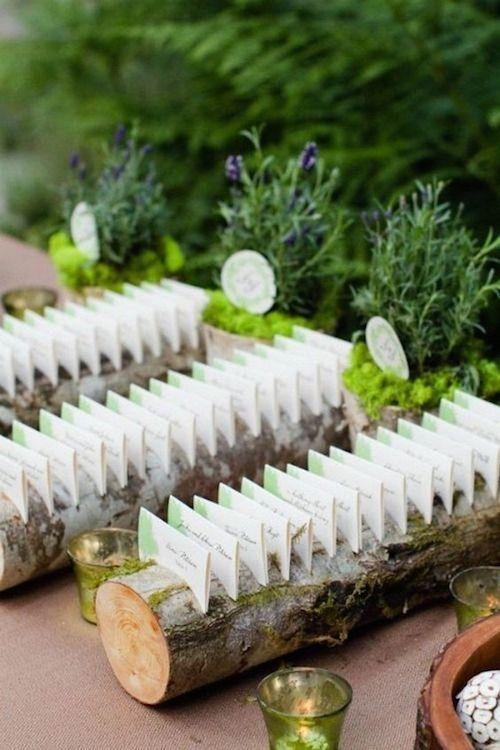 Opta por esta presentación de tarjetas de acompañamiento al decorar una boda en el bosque. Es tal cual te imaginas una boda temática Blancanieves.