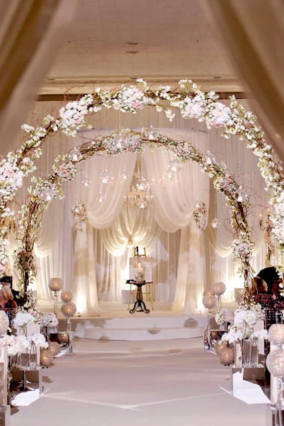 Glorious white wedding ceremony decor.