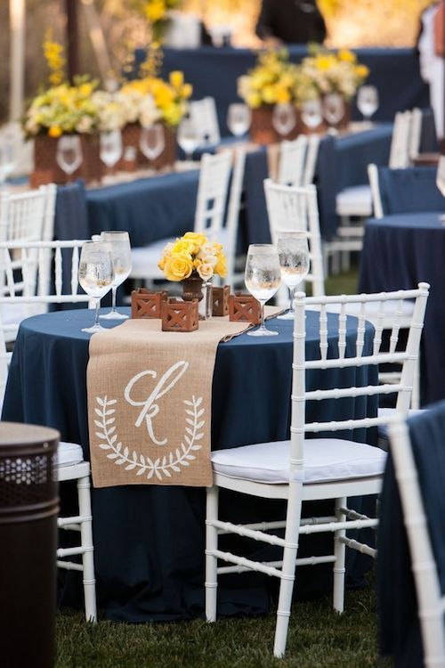 2018 monogrammed table runner ideas for round tables.