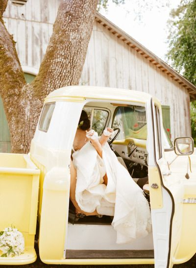 Ride into your happily ever after in a Gen Z yellow truck. Photography by sylvie gil photography.