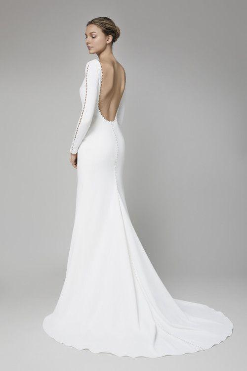 Lela Rose invierno 2018: espalda del vestido Adelaide.