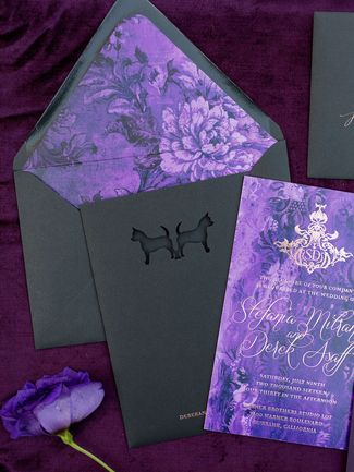 Stunning Ultra Violet wedding invitations and lined envelopes.