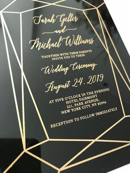 Always ask for a proof. You do not want your classy transparent black gold acrylic lucite perspex wedding invitations ruined with a misspelling.