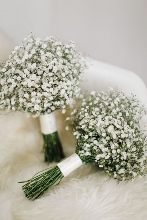 Light delicate and affordable baby's breath bridal bouquet.