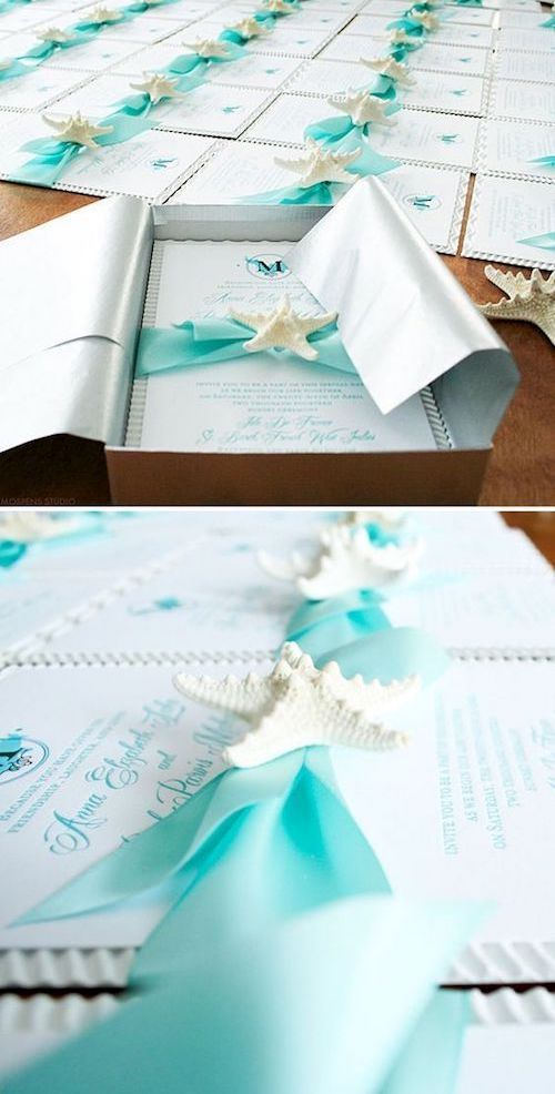 Beach perfect wedding invitation. Ribbons, starfish, tissue paper and invitation box by mospensstudio.