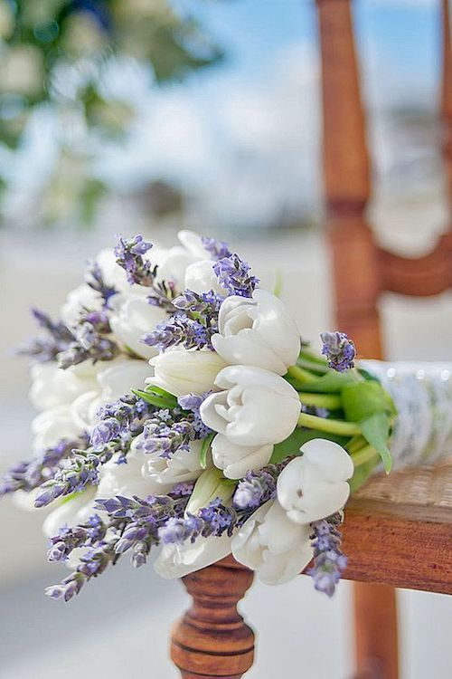 Blooming tulips and lavender for a freshly perfumed spring or summer wedding.