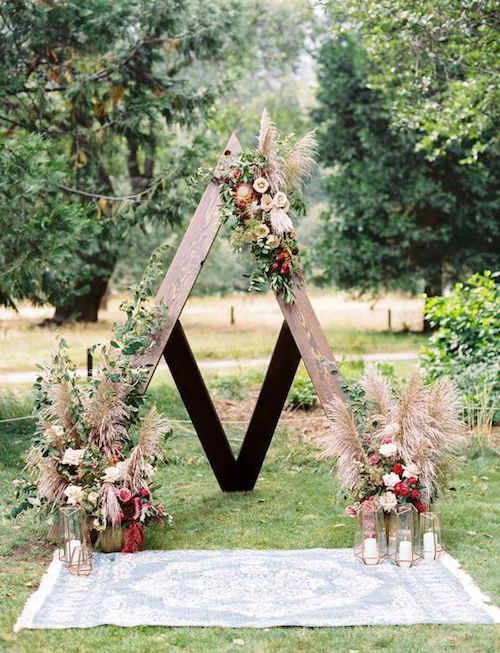 Triangle backdrop at a Yosemite bohemian-inspired nuptials.