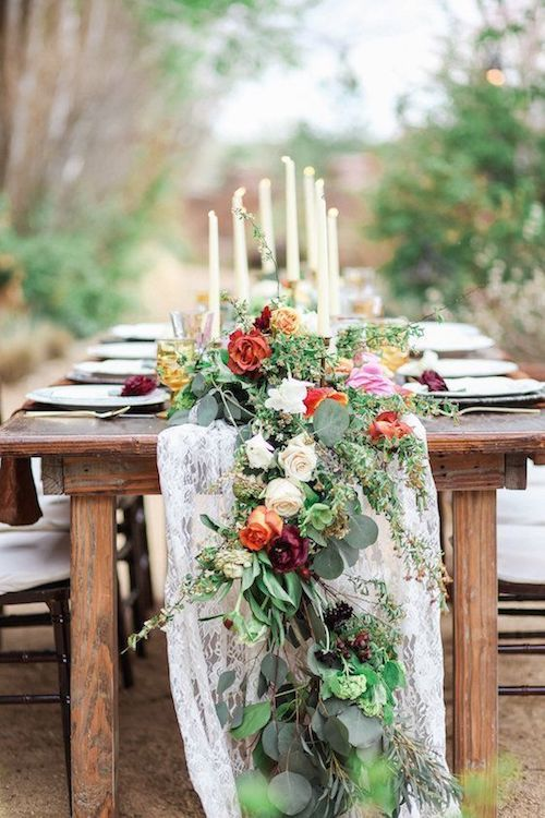Boho table runner ideas for rustic wooden tables.