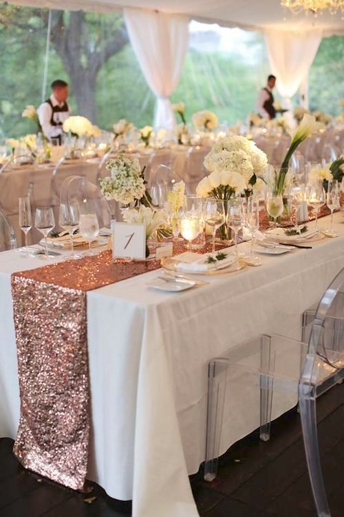 Custom bronze runners, white linens and ghost chairs at the Four Seasons in Austin, TX. Image by Forever Photography.