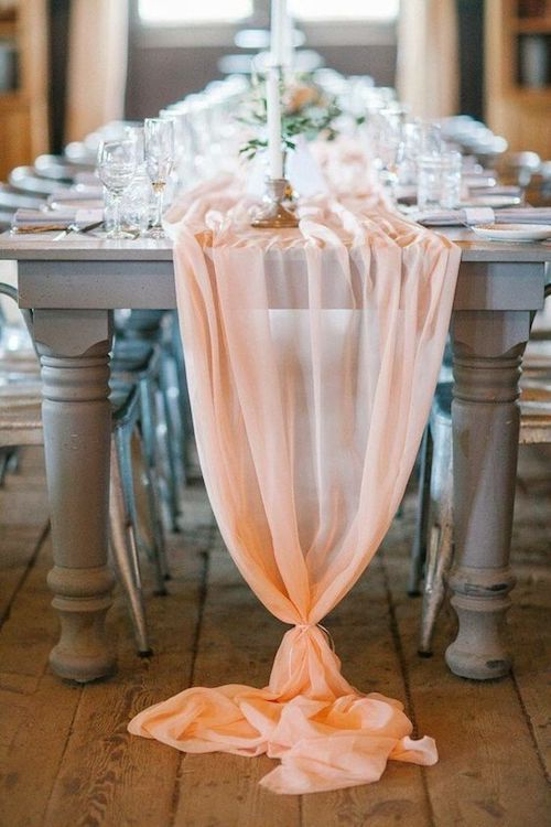 Chiffon is elegant and timeless and is the perfect pretty accent to any wedding. Whether it be a rustic, vintage or glamorous wedding, there are chiffon wedding table runner ideas for every style.