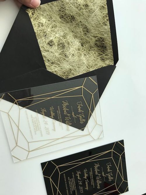 Geometric clear acrylic and gold wedding stationery in lucite perspex plexiglass.