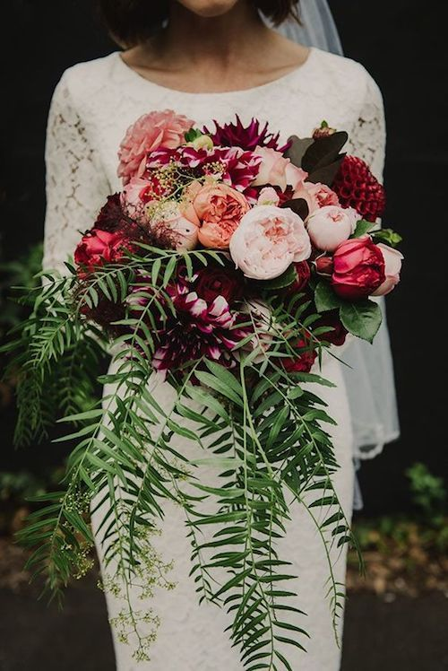 Love this crescent bouquet with moody colors, very 2018.