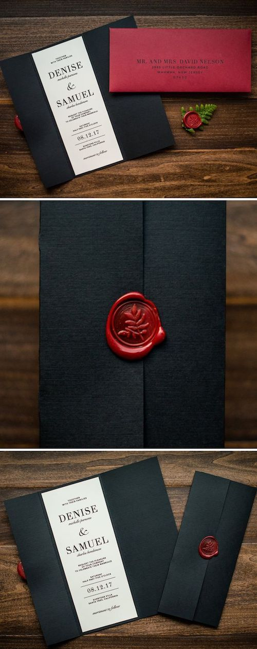 This stationery is a dream come true. A velvet fabric black gatefold sealed with a red wax seal by Penn and Paperie. Love it!!