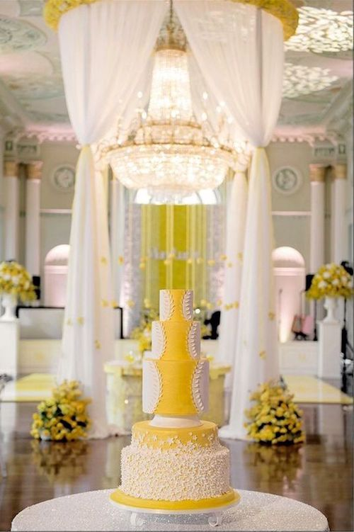 Can you awe me now? Drop dead gorgeous Gen Z yellow wedding cake.