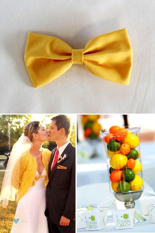 Gen Z yellow wedding details. Yellow hair bow clip. Snatched sweater and wedding dress. Colorful and edible centerpiece.